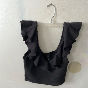 Black forever 21 ruffle crop top NEVER WORN